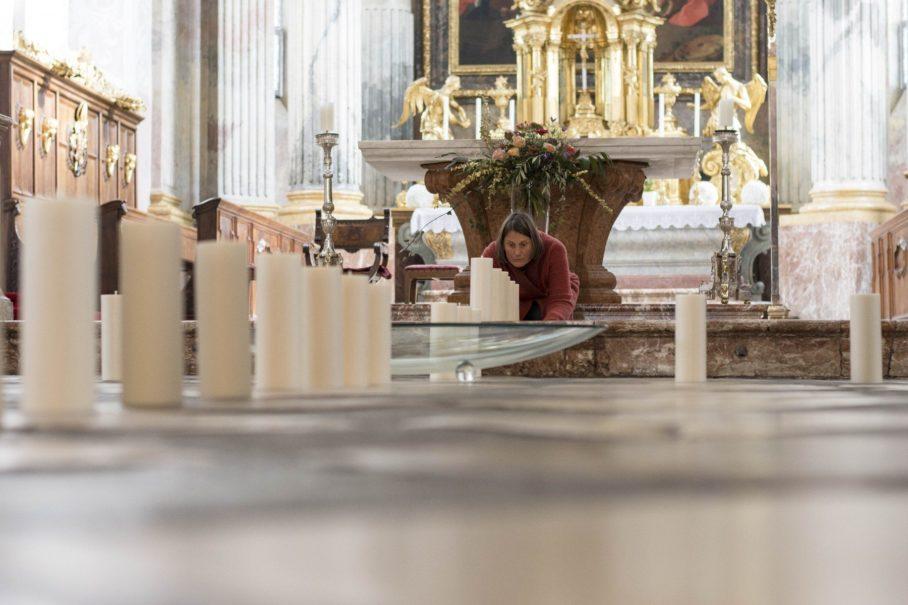 Michaela Wiegele und Alois Hechl-Kreuter, Das doppelte Kreuz, Kunstinstallation für Kunst im Dom 2019, Klagenfurt, Foto: KH Kronawetter